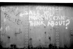 anarchy bridge 1982-04 (Walwyn) Tags: bridge graffiti football anarchy coventry morons earlsdon walwyn