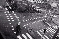 snow, easter - amsterdam (monyart) Tags: blackandwhite snow man amsterdam bicycle easter girlpower bwartaward monyart