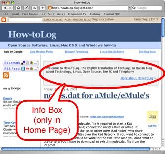 Box informazioni su Blogger