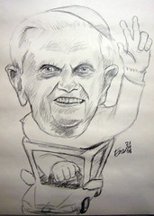 Amen - now get out of the way... (enerene) Tags: pope berlin pencil sketch drawing sketchbook caricature karikatur papst moleskin zeichnung
