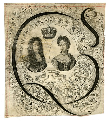 calligraphic Bust portrait of William III and Mary in state robes