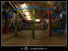 Graffiti at train station KapelleKerk (Erroba) Tags: brussels station train photoshop canon rebel graffiti industrial belgium tripod bruxelles sigma fisheye tips remote erlend brussel chapelle hdr cs3 10mm 3xp photomatix tonemapped tonemapping xti 400d kapellekerk erroba robaye erlendrobaye
