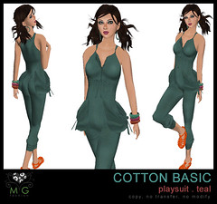 [MG fashion] Cotton Basic Playsuit (teal)