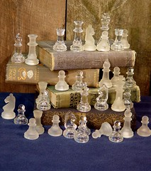 Glass Chess Pieces Make Cool Little Feet For Mixed Media Art Stuff (SurrendrDorothy) Tags: old glass vintage fun pieces antique mixedmedia maine chess etsy supplies decor homedecor doodads artfire homegoods surrenderdorothy raymondmaine zibbet