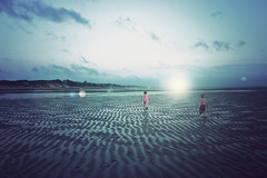 When the sun sleeps (Stephanie Massaro) Tags: sun lake water kids digital canon children landscape eos rebel raw running flare cape 18 cod lense underoath mml vintagefilmactionbyfallout75 goldenheartaward