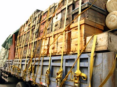 My nemisis - bee hive transport trucks (near Xixia, Henan Province, China)
