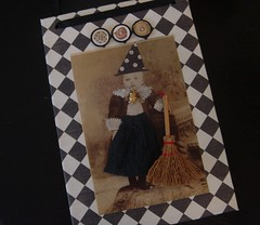 BOO (dreamsintertwined) Tags: white black halloween hat vintage photo child cabinet witch boo card owl broom