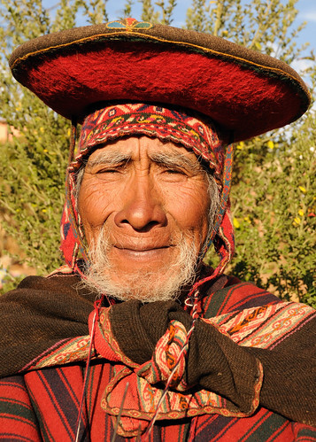 Old man in tradition dress, Chinchero (near Cusco), Peru