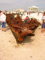 confederate battleship monticello shipwreck washed ashore during Hurricane Ike (us1mm0) Tags: hurricane alabama confederate shipwreck ike monticello gulfshores fortmorgan loserbikers