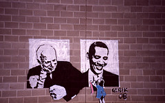 McCain Vs. Obama (Jason Betz) Tags: brick art film wall john graffiti washington lomo lca stencil spokane kodak tag president spray obama mccain debate barack elcetion