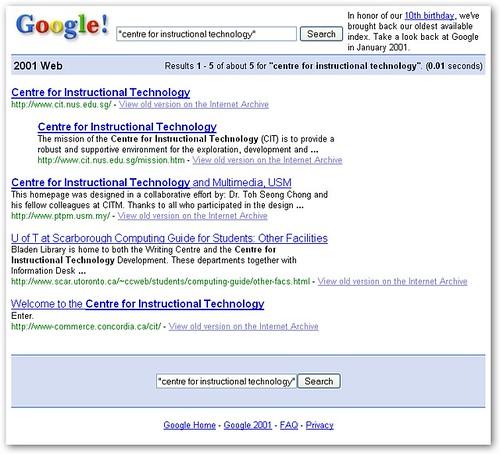 CIT on Google circa 2001