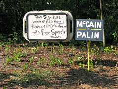Three Times a Charm (yankeepez) Tags: sign tampa three florida again thief fl stolen theft mccain freespeech palin