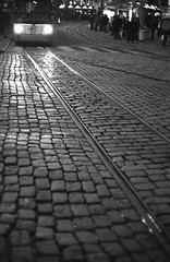 Night-time cobbles (Stephen Dowling) Tags: blackandwhite bw film monochrome night 35mm blackwhite lowlight tour belgium trix documentary 1600 m42 bessaflex ghent eurpe