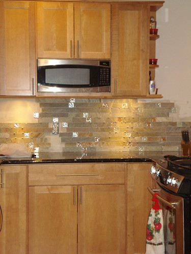 fire and ice brick tile backsplash