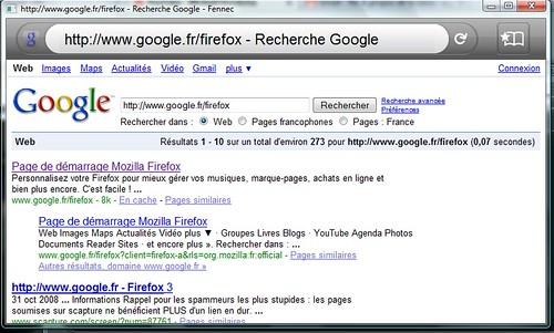 Test Mozilla Fennec sur Windows Vista