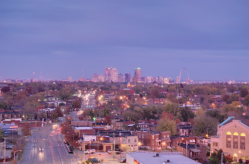 View from the top of the old South Side National Bank Tower, in Saint Louis, Missouri, USA - view of downtown at sunset