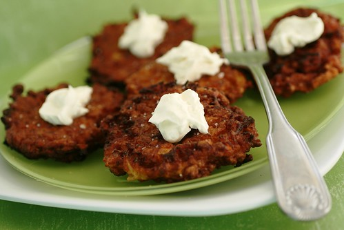 Honey Ginger Carrot and Pasnip Latkes