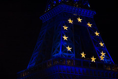 Night shot of Eiffel Tower (featuring 12 Golden Stars from the European Union), from The Seine, Paris, France (My Hourglass) Tags: world blue sky paris france seine night river gold star nikon europe european union eiffeltower d70s eiffel icon tall global