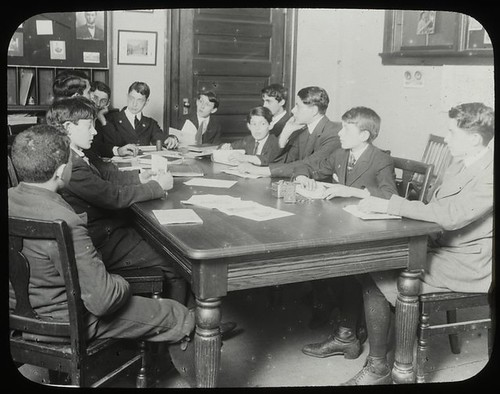 Work with schools, city history clubs : history club meeting...