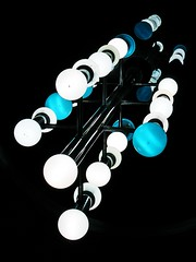 Abstract (light) (tanakawho) Tags: blue light white abstract geometric glass metal ball pattern ceiling sphere blackground hanging onblack tanakawho