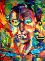 Coming out of Chaos (Gallery Juana, Juana Almaguer) Tags: portrait collage watercolor colorful chaos pieces voices ricepaper washi chigirie