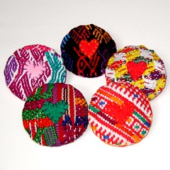 Guatemalan Huipil Fabric Pins (lachapina) Tags: hearts colorful recycled guatemala pins textile ethnic brooches guatemalan remnant upcycled