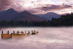 December Mist in Explore (DDA / Deljen Digital Art) Tags: uk trees light shadow england sky cloud mist mountains nature birds fog mystery photoshop landscape boats countryside woods view creative dream scenic creation fantasy blended mysterious imagination mystical layers magical keswick pleasure atmospheric cumberland mystic