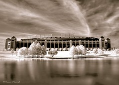 The Ballpark in HDR Infrared (Shawn O'Connell Photography) Tags: blackandwhite bw arlington ir nikon texas d70 baseball stadium infrared hdr texasrangers ballpark hoya72 theballparkinarlington probaseball shawnoconnell shawnoconnellphotography