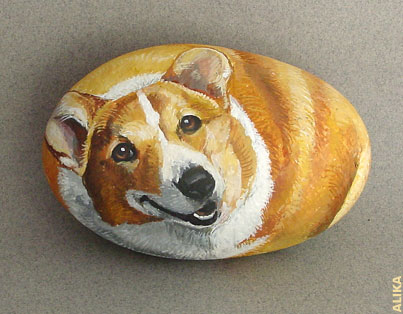 Hand painted rock. Corgi.