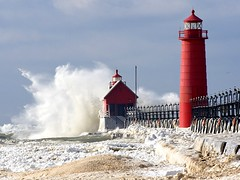 Winter storm at Grand Haven (ER Post) Tags: winter usa snow storm ice mi pier flickr waves wind award best lakemichigan grandhaven awardflickrbest llmsmigrandhaven