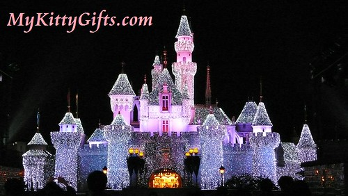 Hello Kitty's View of Sleeping Beauty Castle in Red Lights, Hong Kong Disneyland