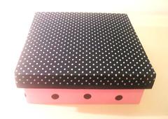 07 caixa petit poa prata e rosa (Mania de Idias) Tags: box dot fabric caixa bola romntico tecido provenal bolhinhas