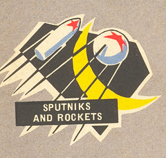 Sputniks and Rockets (jericl cat) Tags: brussels moon illustration race vintage artwork russia map space exhibit exhibition soviet 1958 pavilion universal guide rockets ussr urss sputniks