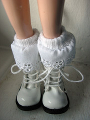 Handmade Blythe ankle socks with broderie anglaise trim