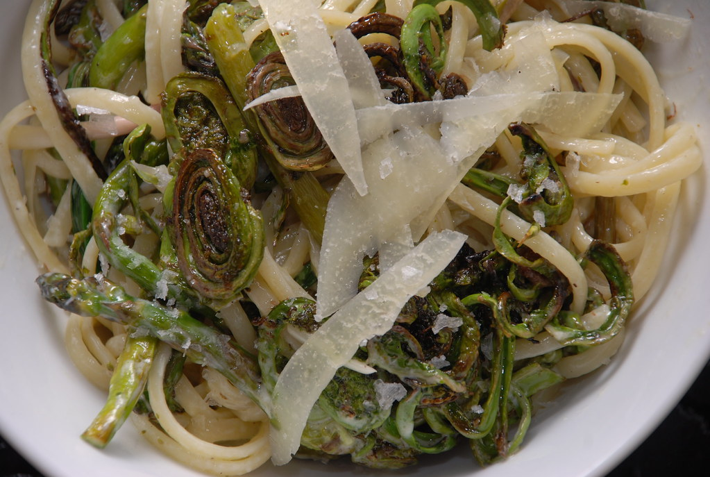 pasta with fiddleheads, asparagus, ramps, and pecorino (cream sauce)