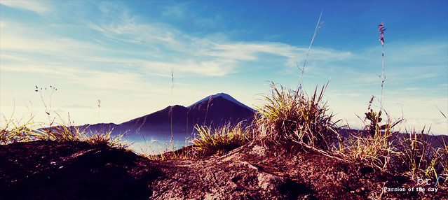 The peak of Mount Abang and Mount Agung from Mount Batur