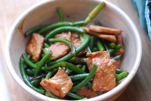 Stir fried garlic scapes and pork