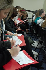 Mercy Students filling out postcards to their legislators (by Kentuckians for the Commonwealth)