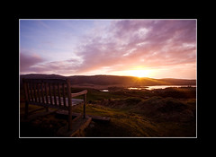 They Loved it Here (dougchinnery.com) Tags: pink sunset sea sky panorama copyright sun white black mountains west bench island photography scotland wooden highlands memorial photographer view purple dusk argyll seat doug border hills frame loch viewpoint mull isle balamory tobermory bute chinnery thefatcat44 darvaig