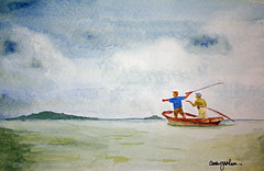 Stormy Fishing (Carla Graham (luvtequila2005)) Tags: storm water rain watercolor painting flyfishing