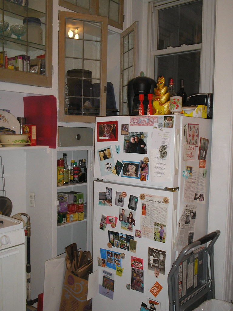 Before: View of my refrigerator and right hand built in cabinets