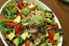 slow-cooked carnitas salad w/ roasted tomatillo salsa