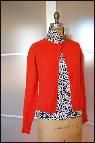 thrifted red-orange wool cardi