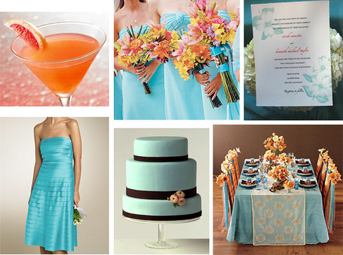 Orange Teal Wedding This is a very summery look