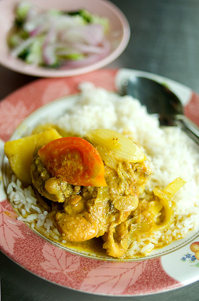 Chicken curry over rice, Yusup