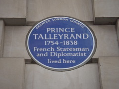 Photo of Charles Maurice de Talleyrand-Périgord blue plaque
