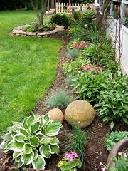 Flower Bed (Shutterfool) Tags: flowers ohio plant flower yard fence garden interesting backyard gardening beds patio explore dirt bulbs planting tuber shale tubers annals concretions carbonatespheres