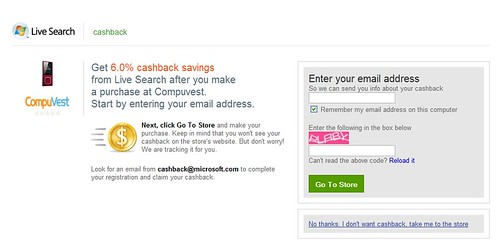 cashback sign in screen