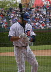 Mark DeRosa's wait on deck (mikepix) Tags: baseball cubs wrigleyfield 2008 markderosa dugoutbox