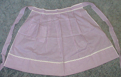 purple gingham apron